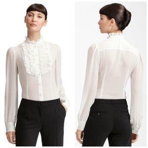 DOLCE & GABBANA Ivory Sheer Silk Ruffle Blouse New